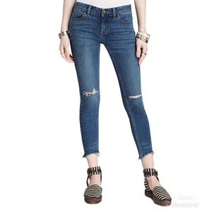 Free People Ripped Knee Ankle Skinny Jeans